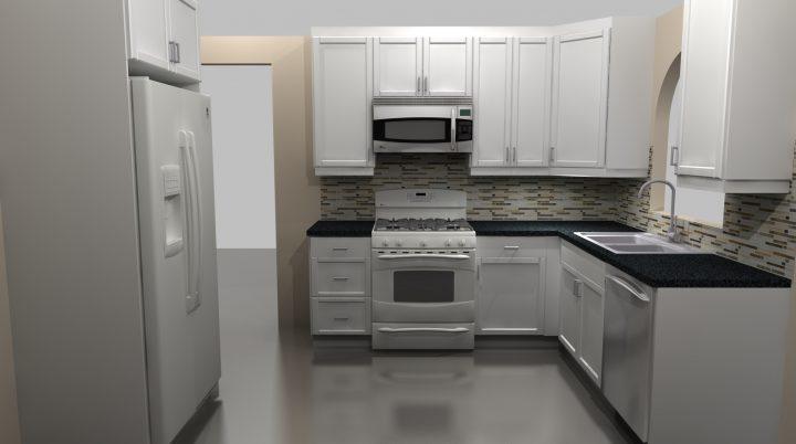 New range wall with IKEA kitchen cabinets