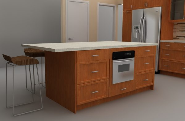 integrated microwave at IKEA kitchen island