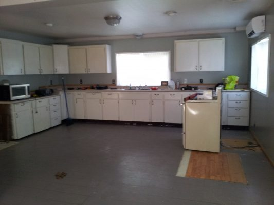 large kitchen before remodel with IKEA cabinets