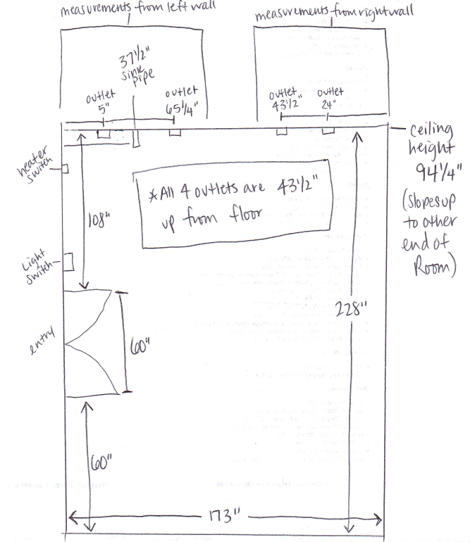 Sketch of kitchen before IKEA design