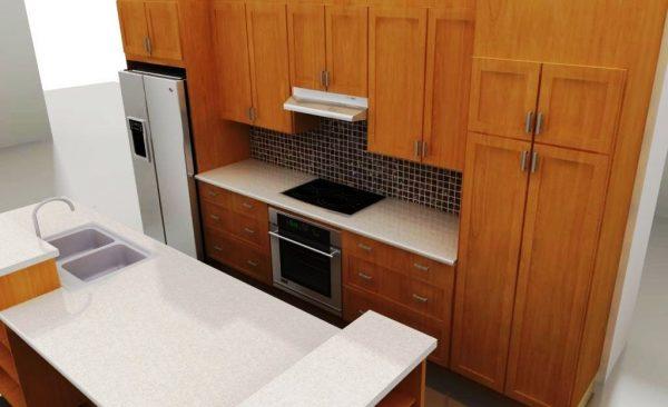 Ceramic tile backsplash in a transitional IKEA kitchen
