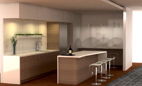 Elegant and modern IKEA home bar with SOFIELUND doors.