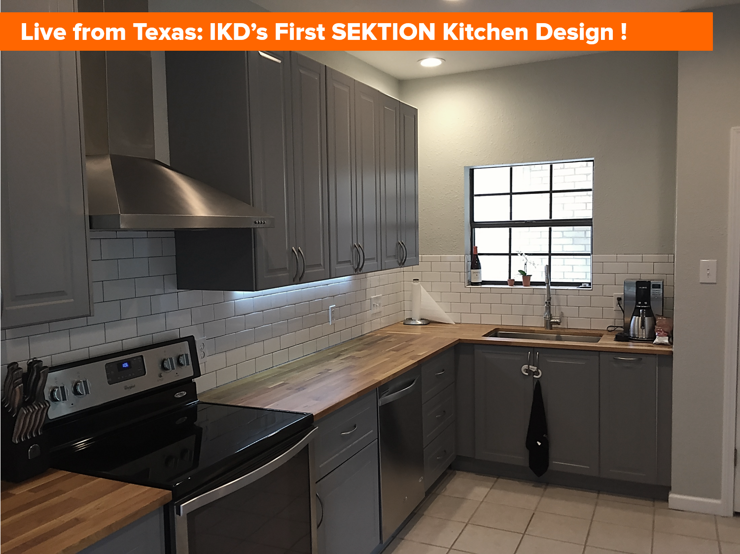 Live from texas photos of ikd 39 s first ikea kitchen design for Kitchen kitchen
