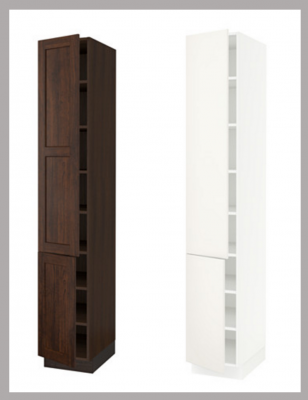 See how the SEKTION cabinet boxes are two different colors? Brown and white are the only options.