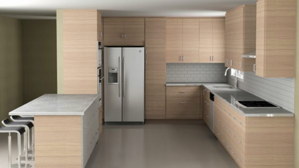 Again, the window is too close to the corner to wrap the wall cabinets. That corner would be perfect for an appliance garage in this IKEA kitchen.