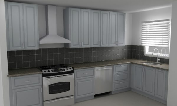 The window is too close to the corner to wrap the wall cabinets, but the base cabinets still wrap in this IKEA kitchen.