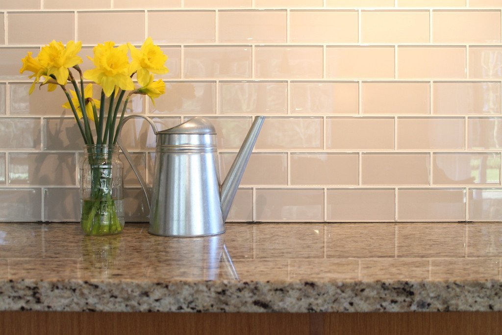 glass subway tile kitchen