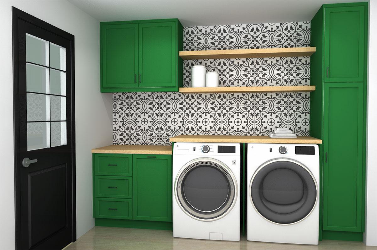 Green laundry room